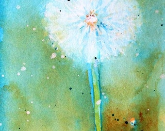 """DANDELION Original Watercolor ACEO 2.5"""" X 3.5"""""""