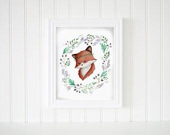 PRINTABLE -  Floral Wreath Fox Watercolor Painting , Digital Download Art Print