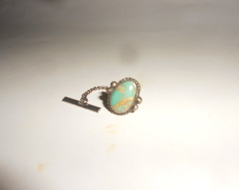 Cerrillos Turquoise Tie Tack Harvey Era Southwestern Wear Turquoise Beauty With Safety Back & Button Hole Chain