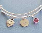 Heart Bracelet, Best Friend, Initial Bangle, Silver Bangle,Personalized,Expandable,Charm Bracelet,Birthstone Bracelet,BFF Friend,Birthday