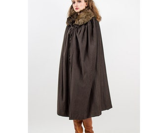 Edwardian cape / Antique wool and fur / Game of thrones cosplay S M L