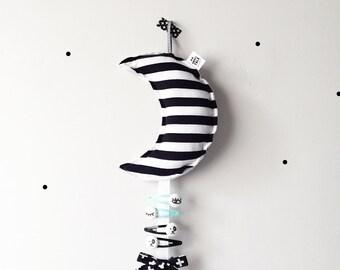 Hair Clip Holder - Moon Clip Holder - Baby Room Decor - Monochrome Nursery Decor - Hair Accessories Organizer