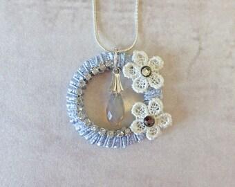 Grey Ring Swarovski Necklace - pendant, necklace, Swarovski necklace, jewellery, crystal necklace, unique jewellery, grey, crystal