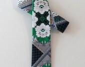 Patchwork Skinny Tie, 1970s // Cotton & Silk Necktie