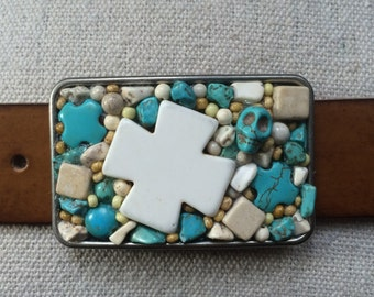 Coral Cross & Turquoise Skull Belt Buckle