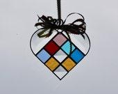 Birthstone Heart Stained Glass Suncatcher Ornament Family Treasure