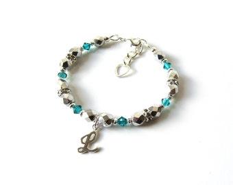 Personalized Kids Bracelet, December Birthstone Bracelet, Toddler Bracelet, Girls Initial Charm Bracelet, Personalized Bracelet for Kids