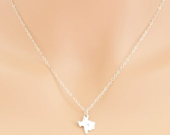 Texas Diamond Necklace Sterling Silver State of Texas
