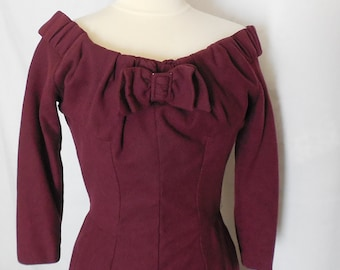 Rare Vintage Jerlaine Tricosa Paris Burgundy Wool Wiggle Dress 1940's/1950's