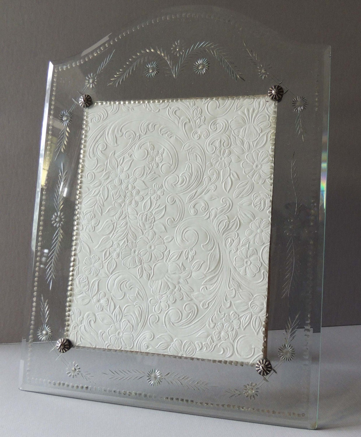 reserved floral etched glass 8 x 10 photo frame 8 x 10
