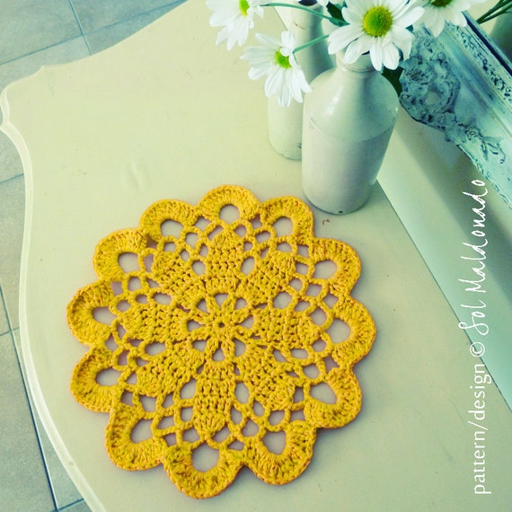 Crochet pattern doily or Tarn Rug PDF - mandala crochet pattern - INSTANT DOWNLOAD