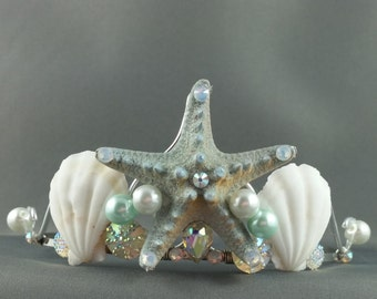 Mermaid Crown - Mint Starfish Tiara Mermaid Tiara Little Mermaid Ocean Tiara Beach Wedding Crown Beach Tiara - Ready to Ship