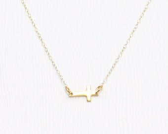 Blessing Sideway Cross Necklace Gold