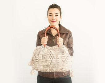 Beige Handbag Leather Tote Bag Shoulder Bag  Women Bag Leather Tote Fashion Women Accessory Handmade Bag Christmas gift Crochet Bag