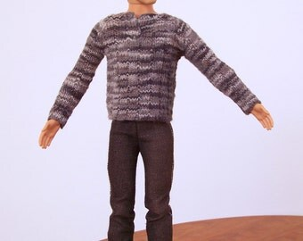 Male Fashion Doll Sweater, Male Doll Long Sleeve T Shirt, Hand Knit Doll Clothes, Knitted Doll Clothes, Male Fashion Doll Gray Top
