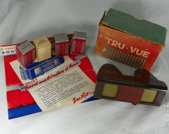 VINTAGE 1940s Tru Vue Slide Viewer Bakelite 4 Film Roll Reels Original Box Instructions Stereoscope Viewer Los Angeles New York Aquarium