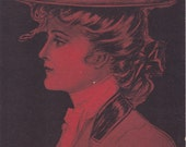 Queen of Sports- 1900s Antique Postcard- Edwardian Woman- D Hillson- American Beauties- Red and Black- Art Card- Paper Ephemera