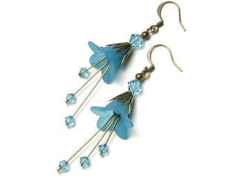 Turquoise Flower Earrings, Long Teal Boho Style Swarovski Crystal Antique Brass Earrings, Acrylic Flower Bead, Blue Green Floral Drops, Gift