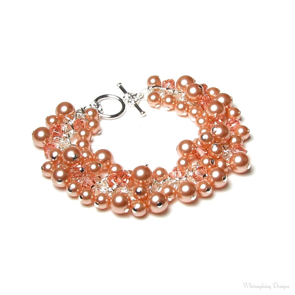 Swarovski Charm Bracelet: Pink Peach Swarovski Crystal & Pearl Cluster Charm Bracelet