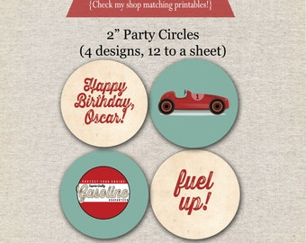Retro Race Car Party Circles | Vintage Race Car Cupcake Toppers | Race Car stickers | Race Car Birthday | digital printable