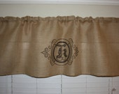 "Custom monogram-Home decor-Drapes-Curtains-Valances-Burlap valances-Natural Burlap 20X59""-Rod pocket-Decorated with your own LETTER imprint"