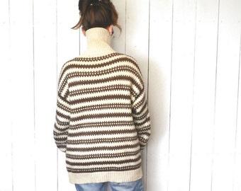 Wool Sweater Coat 1980s Vintage Twin Peaks Striped Knit Woodland Winter Jacket Large XL
