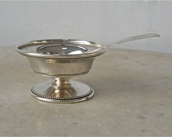 COIN SILVER SALT + Silver Spoon Early American  Salt Dish Beaded Pedestal Base Fiddleback Spoon Maker Whiton 1750-1820's Free Shipping!