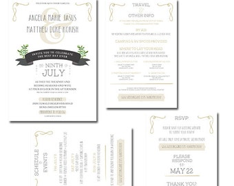 Modern Ivory and Charcoal Wedding Invitation Set, Neutral Colors, Succulents, Tiered Reply Card, Schedule of Events Travel and Other Info