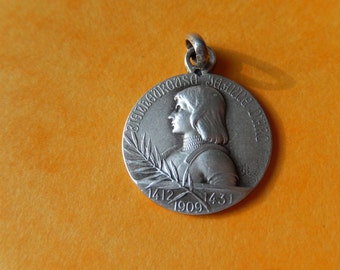 """Saint Joan of Arc SILVER Antique Religious Medal Pendant on 18"""" sterling silver rolo chain"""