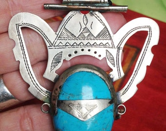 Ethnic Tribal Tuareg Amulet with Turquoise, Onyx Beads & Tifinagh signs at the back