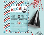 Pirate Invitation Pirate Party Invitation Boy Birthday Invites Pirate Invitation Printable Invite Red Aqua Pirate Ship