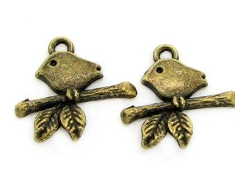 Bronze Charms : 10 Antique Bronze Bird Charms | Bird on a Branch Pendants ... 16x16mm -- Lead, Nickel & Cadmium Free  64513.J2L