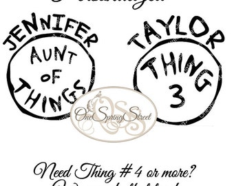 Thing 1 Thing 2 Iron on transfer Cat In The Hat Dr Seuss Custom Single PERSONALIZED Printable Matching Family Diy clipart # 1793
