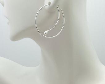 SILVER MODERN Hoop EARRINGS, Argentium silver hoops, Minimalist hoops, Slip in Earrings, Simple Everyday hoops, Wire Earrings, Silver hoops