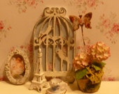 Reserved for Diane Miniature Shabby Chic Birdhouse Wall Art for Dollhouse