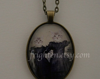 Cat Jewelry, Cat Necklace, Cats in Clothes, Animal Jewelry, Animal Necklace, Sisters Jewelry, Sisters Necklace, Anthropomorphic