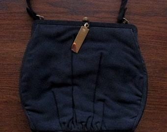 Vintage Black Satin Evening Bag Vintage Black Satin Purse Vintage Black Satin Handbag