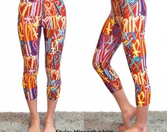 Hieroglyphics Leggings - Yoga Workout Wear Red Yellow Orange