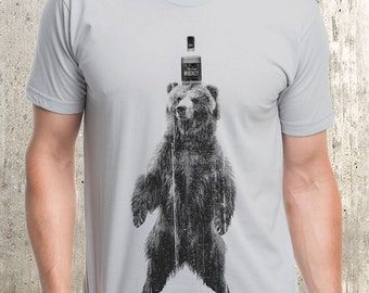 Grizzly Bear and Whiskey - Men's Screen Printed T-Shirt - American Apparel - Men's Small Through XXL