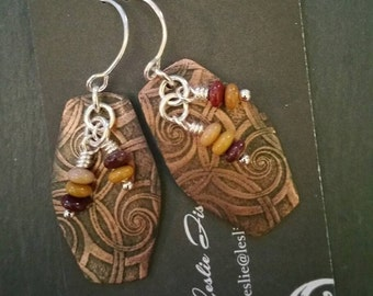 Copper and Mookaite Earrings