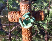 For Linda - Raw Rusty Salvage - Bottle Cap Cross - Original  Folk  / Tramp Art / Hacienda  -  Original Cathy DeLeRee