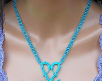 Amethyst Necklace - Seed Bead & Gemstone Statement Jewelry - Beaded Heart Shaped Necklace - Turquoise with Purple - Beadwork