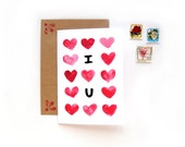 I <3 U | Watercolor Illustrated Valentine's Day Card