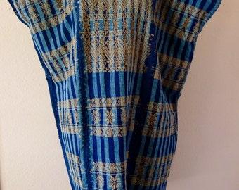 "Collectors Mexican handwoven cotton huipil tunic dress INDIGO natural dyes Amuzgo Oaxaca boho resort cover up Frida Kahlo 29"" W x 40"" L"