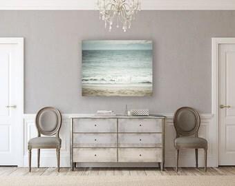 Canvas Wall Art: Beach Decor, Ready to Hang Beach Decor, Beach Canvas Print, Ocean Blue Pastel Soft Turquoise Aqua Beige Waves Water.