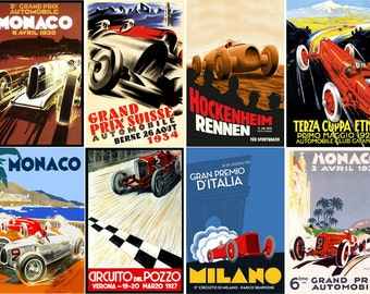 """Large Stickers (each sticker 2.5""""x3.5"""", pack 8 stickers) Scrapbooking Craft Vintage # Vintage Racing Cars Posters FLONZ 215"""