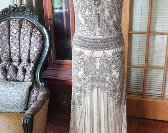Beaded Wedding Party Prom 1920s inspired Flapper Downton Abbey Miss Fisher Great Gatsby Dress