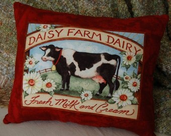 Cow Pillow/ Daisy Farm Dairy/ Cow Decor/ Farm Pillows/ Dairy Farm Decor/ Black and White Cow/ Fresh Milk and Cream