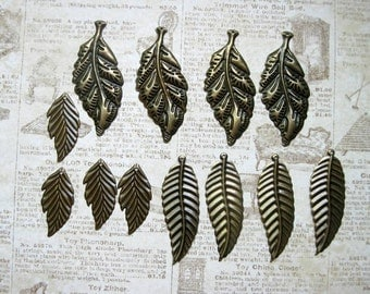 Collection of 12 Thin Leaf Charms in bronze tone - C2422
