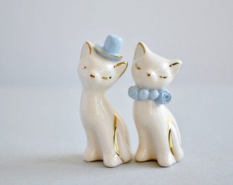 Blue and ivory cat cake topper - ceramic wedding decor - cat figurine with 24K gold details